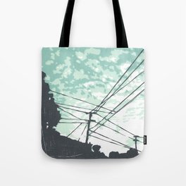 Urban Street Scene with Electrical Wires Tote Bag