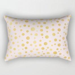 Luxe Rose Gold Polka Dots Pattern Seamless Vector, Drawn Metallic Rectangular Pillow