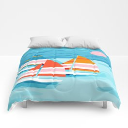 Popin - memphis sports retro throwback neon sailing sailboat cool rad gnarly trendy watersports Comforters