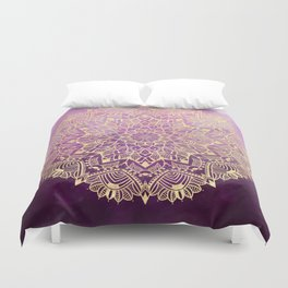 Gold mandala on maroon ink Duvet Cover