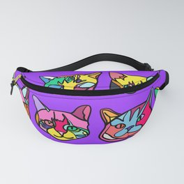 Too Much Catnip (Abstract Neon Psychedelic Cats Contour Art on Purple) Fanny Pack