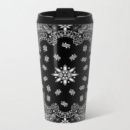 black and white bandana pattern Metal Travel Mug