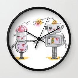Cute robots in love Wall Clock