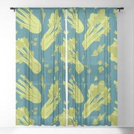 Hand drawn flat illustration of celery vegeteble. Cute cartoon pattern of vegetarian food Sheer Curtain