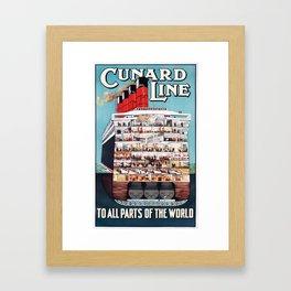 Vintage travel poster - Cunard Line Framed Art Print