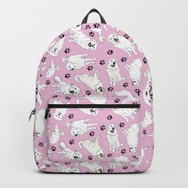 Great Pyrenees on Pink Backpack