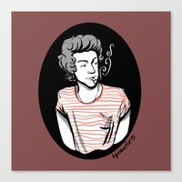 smoking Canvas Prints featuring Smoking by LePomiere