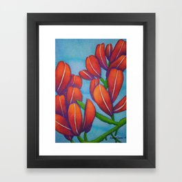 Botanical Painting with Reds and Blues Framed Art Print