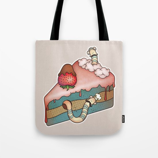 SWEET WORMS 3 - strawberry cake Tote Bag