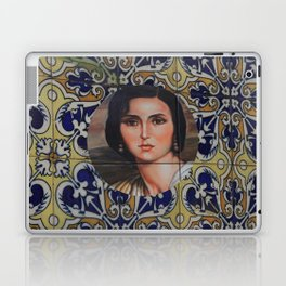 Spain 46 - Woman in Madrid with mosaic on the wall Laptop & iPad Skin