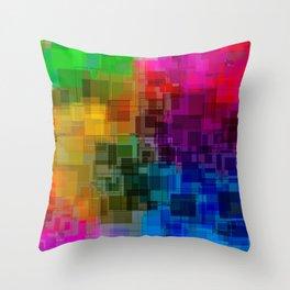 Vibrant Rainbow Geometric Pattern Throw Pillow