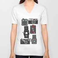 cameras V-neck T-shirts featuring Cameras by Illustrated by Jenny