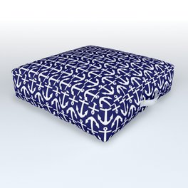 Maritime Nautical Blue and White Small Anchor Pattern Outdoor Floor Cushion