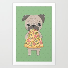 Pizza Pug Art Print