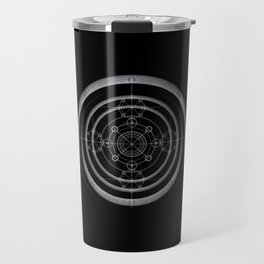 Black occult and sacred geometry design with alchemical symbols Travel Mug