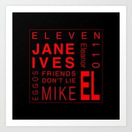 Eleven:Stranger Things - tvshow Art Print