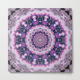 Pink and Purple Fractal Kaleidoscope 2 Metal Print
