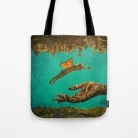 let it go Tote Bags featuring Let Go by Brianne Lanigan