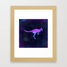 WALLABY IN SPACE // Animal Graphic Art // Watercolor Canvas Painting // Modern Minimal Cute Framed Art Print