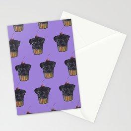 """Cherry on Pup"" Black Pug Cake Pattern Purple Stationery Cards"