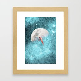 FLOATING TO THE MOON Framed Art Print