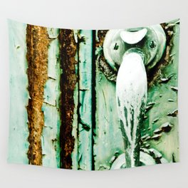 Green Door Handle, Peeling Turquoise Paint, Rusty Door Wall Tapestry