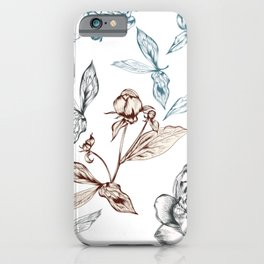 Botanical vector hand drawn illustration with peony flower in vintage style iPhone Case