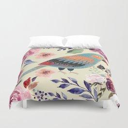 Parrot Art Floral Watercolor Painting Duvet Cover
