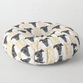 Black Greyhound Faces & Decorative Butterfly Patterns Floor Pillow