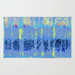 Abstract Forest Trees in Blue and Lilac Rug