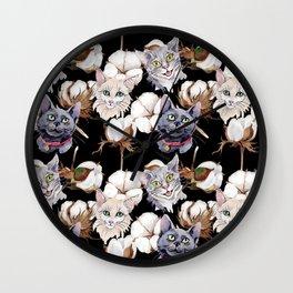 Cotton Flower & Cat Pattern on Black 02 Wall Clock