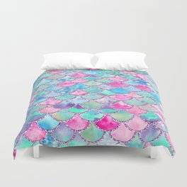 Colorful Pink And Blue Watercolor Trendy Glitter Mermaid Scales Duvet Cover