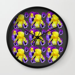 CHARCOAL GREY YELLOW IRIS PURPLE PANSY ART Wall Clock