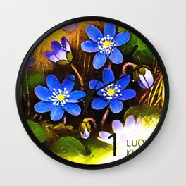 Hepatica flower Wall Clock