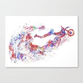 Motocross dirt bike, watercolor print motorcycle, sport bike Canvas Print