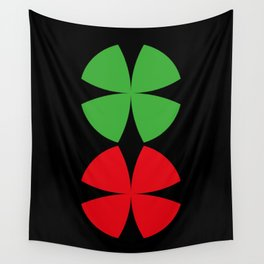 Two Four-Leaf-Clovers, one red, one green, meeting at a Party in a Black Background Wall Tapestry