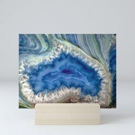 Blue green Australia shaped agate Mini Art Print