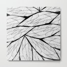 Black and White Modern Abstract Geometric Leaves Metal Print
