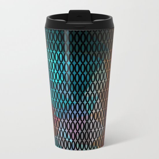 Abstract background of triangles polygon print. Bright dark design colors Metal Travel Mug
