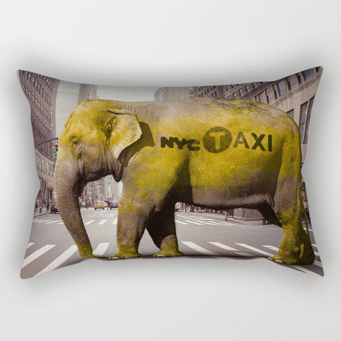 Elephant Taxi NYC Rectangular Pillow