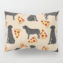 Black lab pizza dog breed pet portrait gifts for labrador retriever lovers Pillow Sham