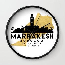MARRAKESH MOROCCO SILHOUETTE SKYLINE MAP ART Wall Clock