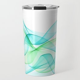 Sea Wave Pattern Abstract Aqua Blue Green Waves Travel Mug
