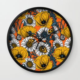 The meadow in yellow and orange Wall Clock