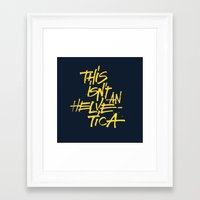 """lettering Framed Art Prints featuring """"Helvetica"""" Lettering by Srg44"""