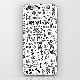 Passing Notes in Class // Old School Handwriting and Doodle Drawings in Black & White iPhone Skin
