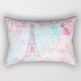 I love Paris- Vintage  Shabby Chic in pink - Eiffeltower France Flowers Floral Rectangular Pillow