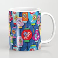 chinese Mugs featuring Chinese lantern by Helene Michau