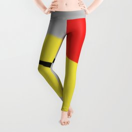 Red Yellow Black Minimalism Digital Painting Leggings