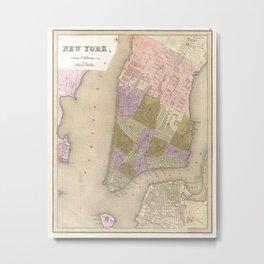 Vintage Map of New York City (1839) Metal Print